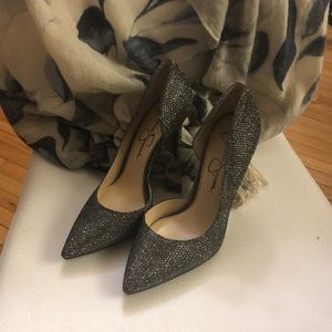 Silver 4 inch Jessica Simpson After-Five Shoes